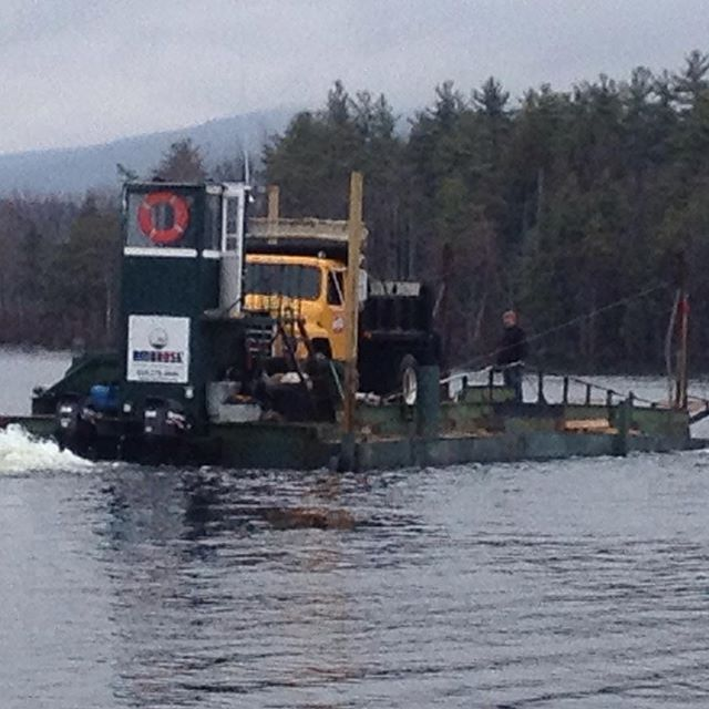 Truckin' (on a barge) #doodahman  #barge #dirtbarge @ambrosebros #lakewinnipesaukee #truckin