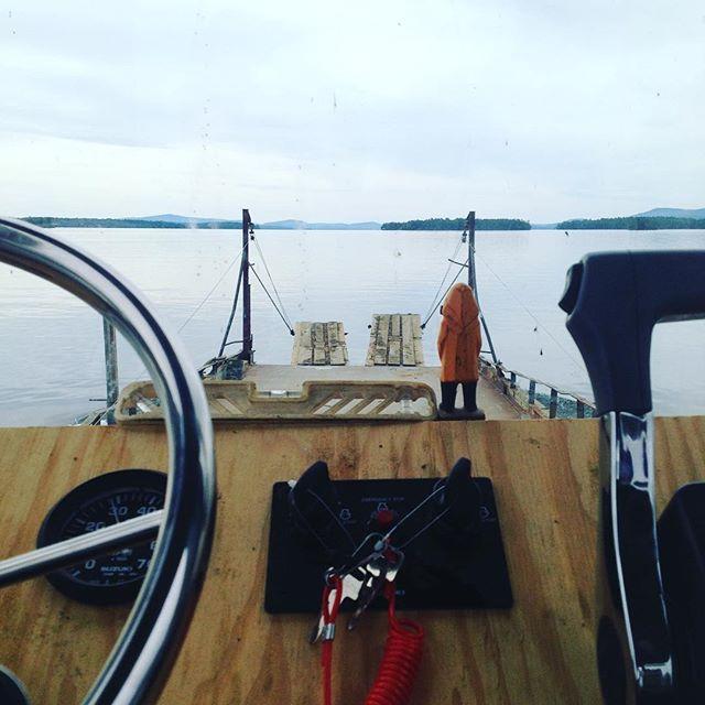 #view from the #office this morning. Where is everybody? #lakewinnipesaukee #barge #winnipesaukee #laconia #bikeweek #laconiabikeweek