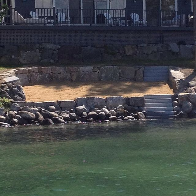 Life's a Beach! #perchedbeach #lakewinnipesaukee #winnipesaukee #marineconstruction #barge #newhampshire