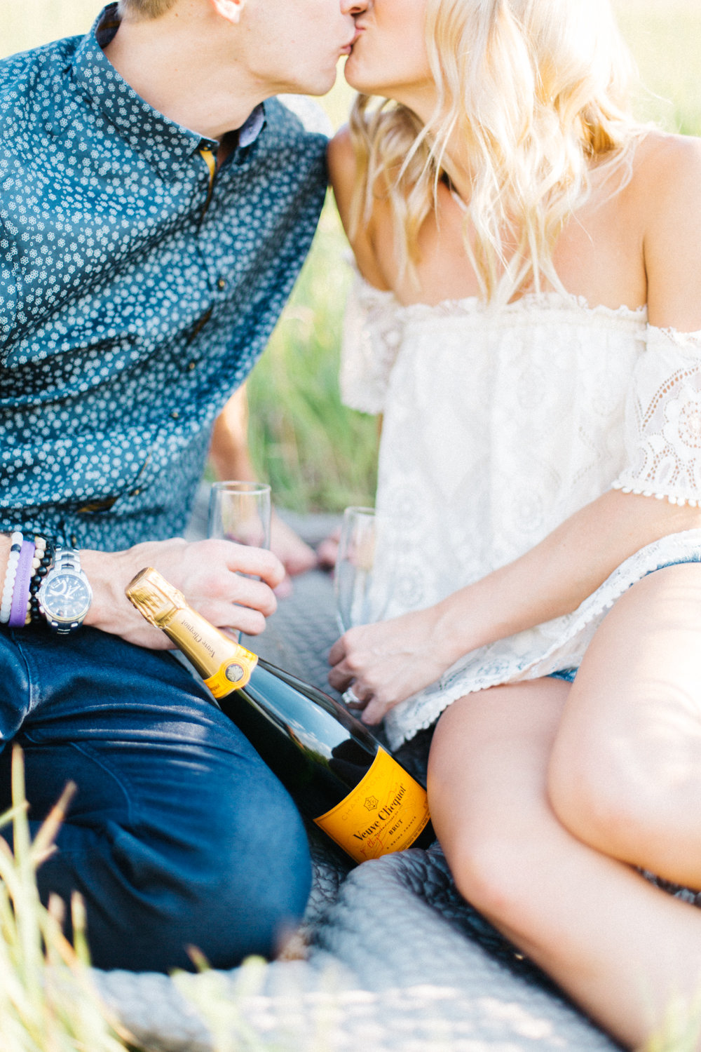 Couple Kissing with Champagne