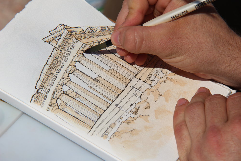 Watercolor Sketch of the Parthenon, Athens, Greece