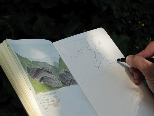 Robert+Moore+sketching+an+ancient+Waldensian+village.jpg