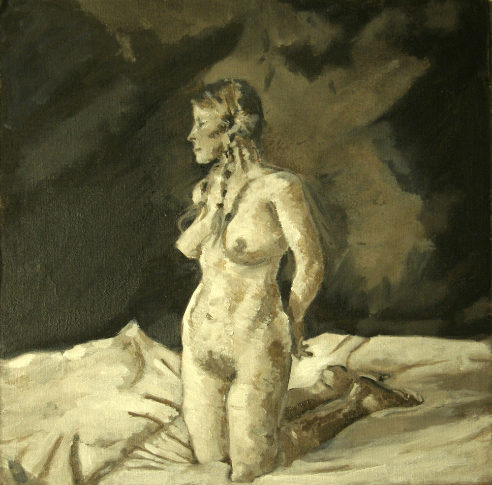 "2008  Study of Andrew Wyeth's ""On Her Knees"" , 12x12 Oil on Muslin"