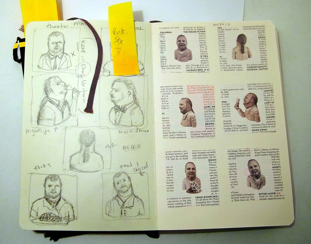 Mario Batali sketches and in print (New York Magazine)
