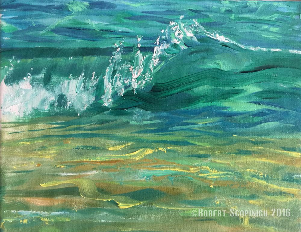 Cyan SwirlOil on Canvas