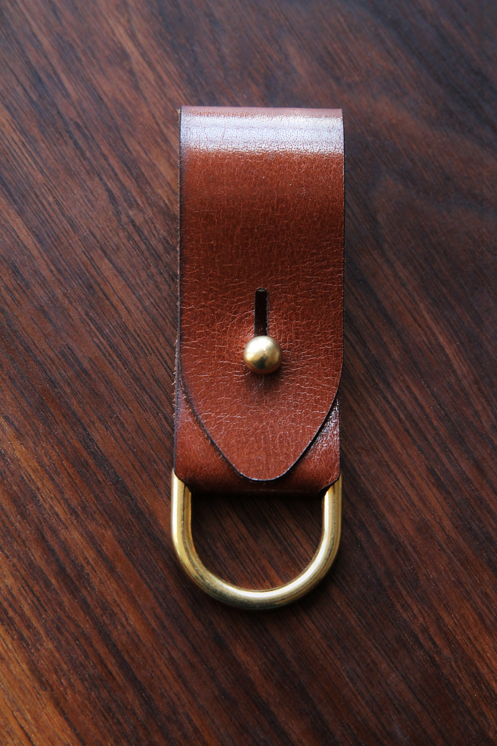 Leather Key Fob with Brass Accents