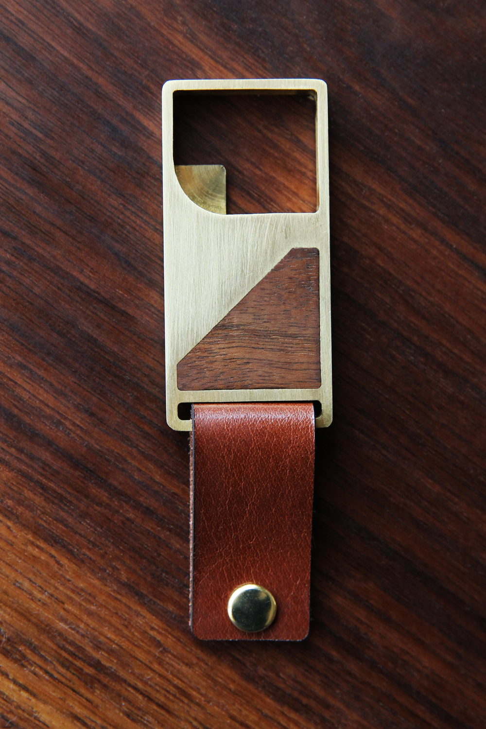 Hand-Brushed Brass & Walnut Bottle Opener