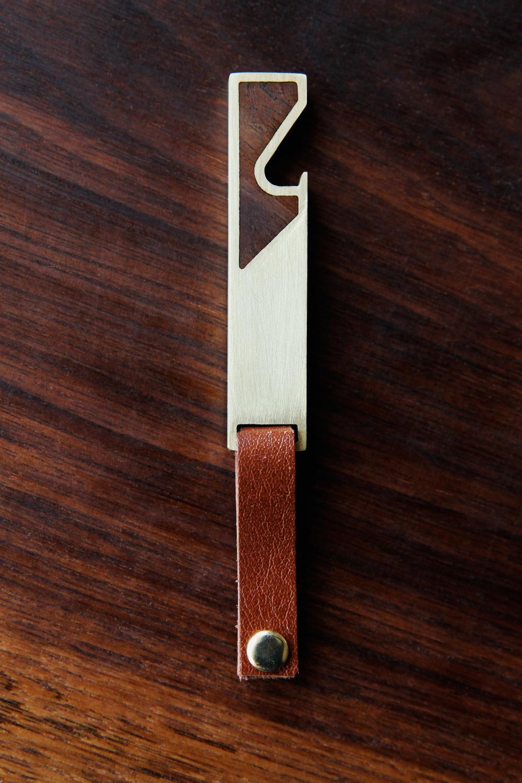 Hand-brushed Brass & Walnut Mini Bottle Opener