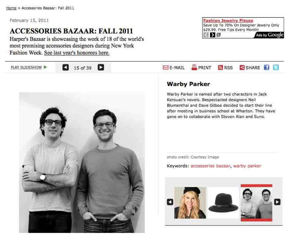 Client: Warby Parker Eyewear, Publication: HarpersBazaar.com