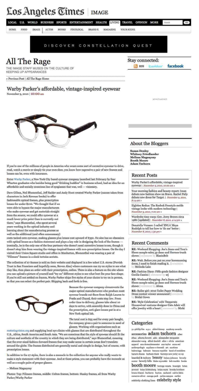 Client: Warby Parker Eyewear, Publication: Los Angeles Times