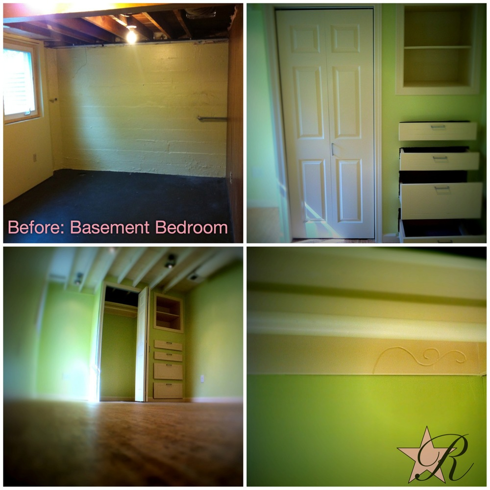 This basement was converted into a bedroom with a custom closet with built-in shelves and a row of drawers. The client wanted small decorations to dress up the trim, as photographed in the lower righthand corner.