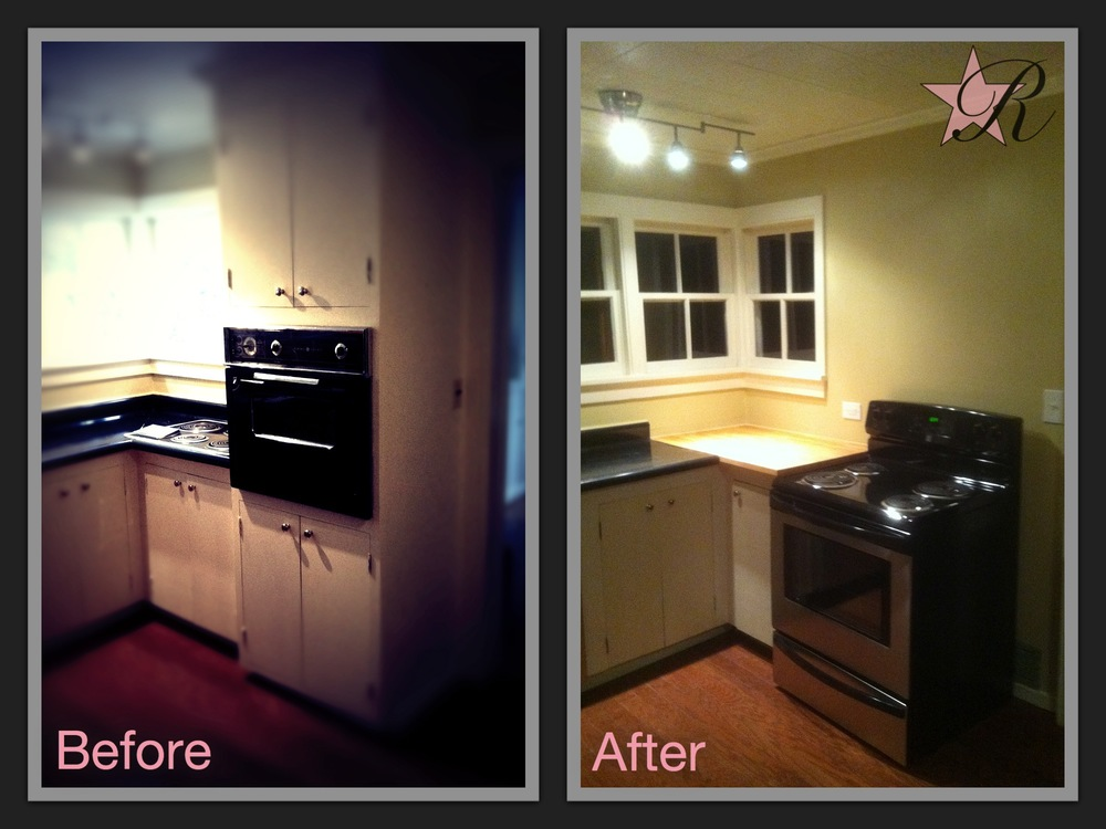 The stovetop and oven no longer worked so they were just taking up space in this kitchen. Rockstar Remodel removed the cabinets, stovetop, installed butcherblock as a countertop and repaired the wall and flooring before painting.