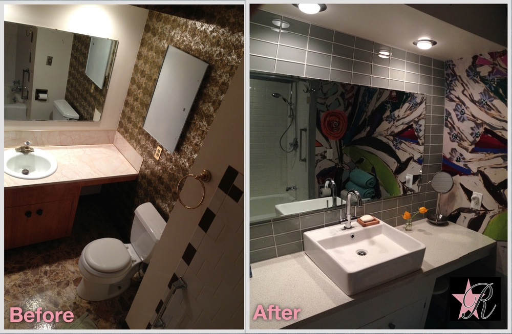 During the bathroom remodel, the old wallpaper behind the toilet was swapped for a more colorful, modern design that reflects beautifully in the mirror and provides a nice accent to the room.