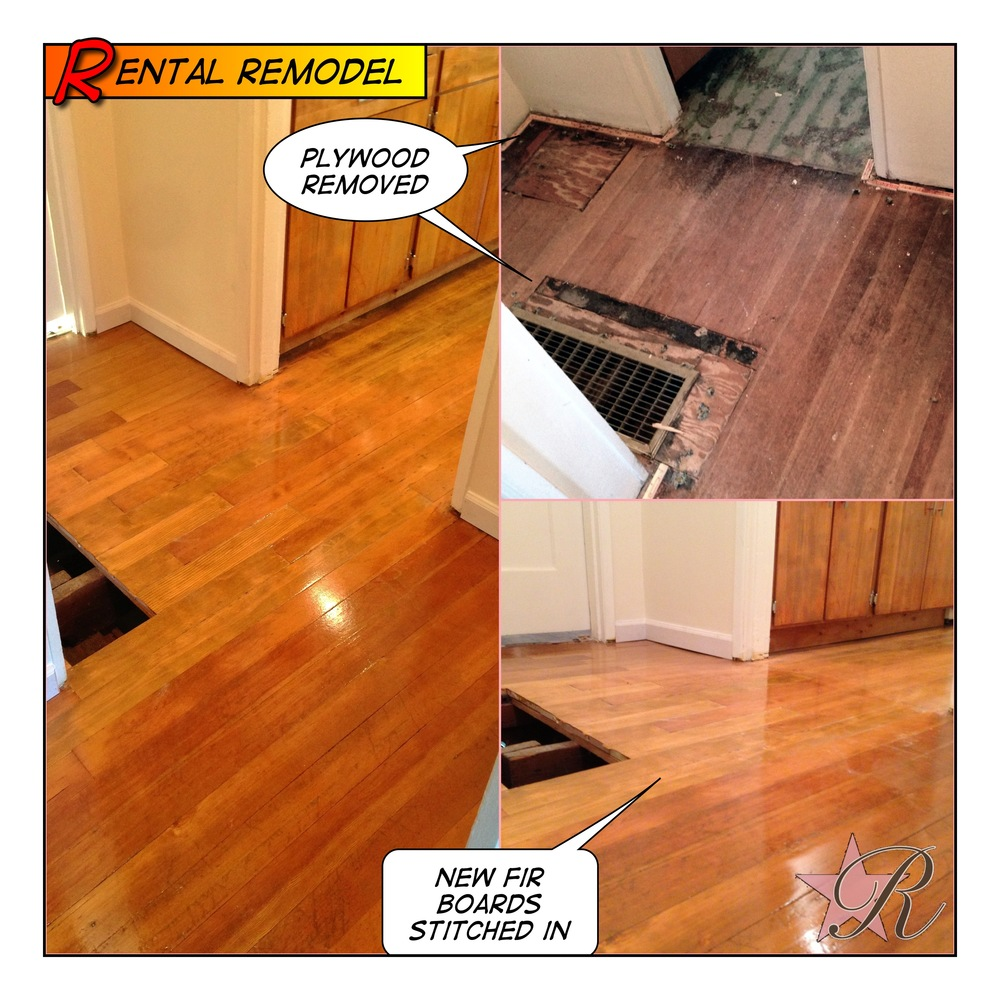 Previously, the vent was cut too large and filled with plywood. Rockstar Remodel stitched in new hardwood flooring and refinished the floor to match