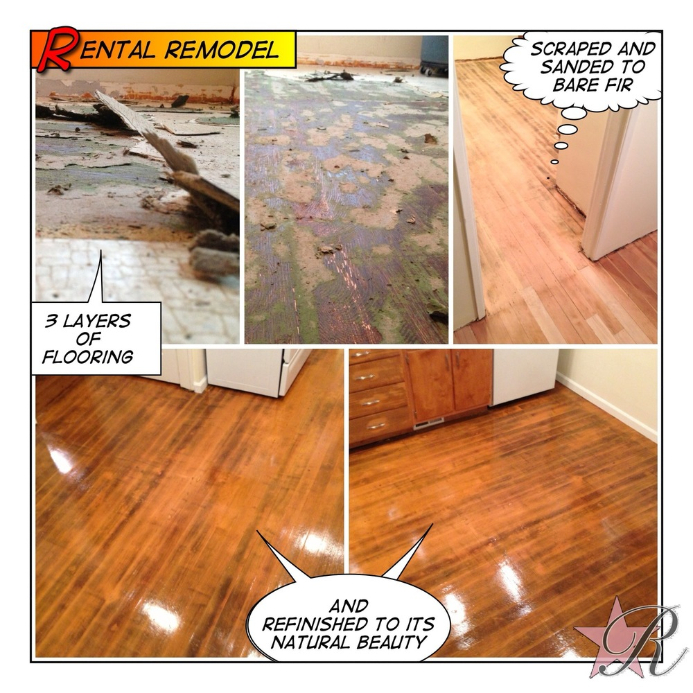 Rockstar Remodel peeled up three layers of vinyl and refinished the hardwood flooring found underneath.