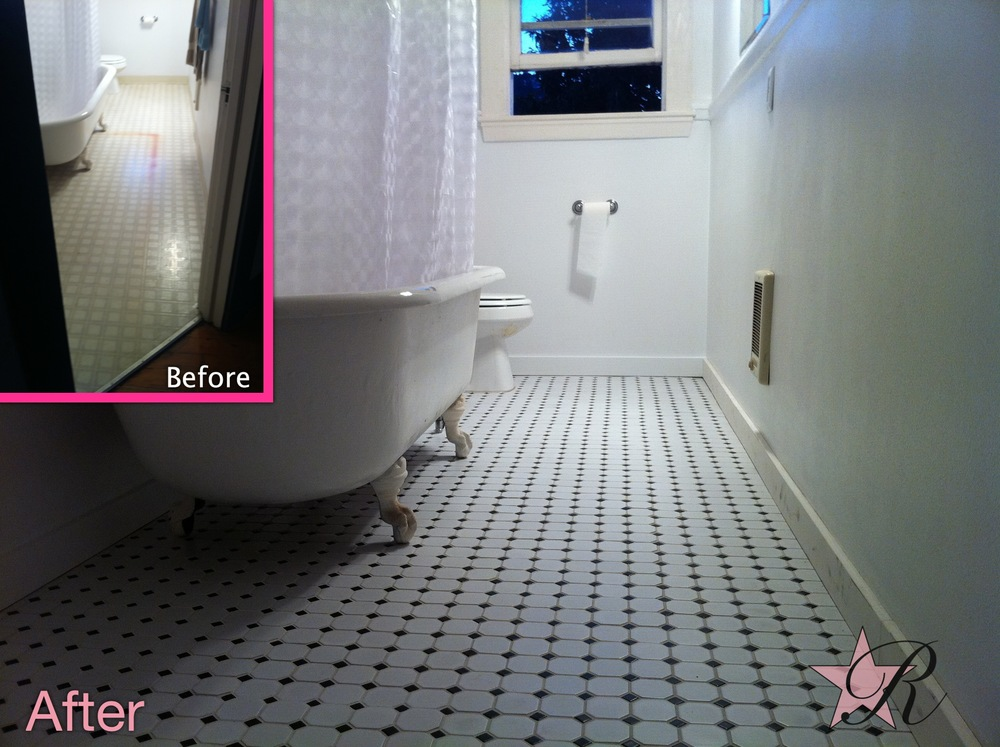 Rockstar Remodel replaced the linoleum with a tiled floor in this downtown condo bathroom.