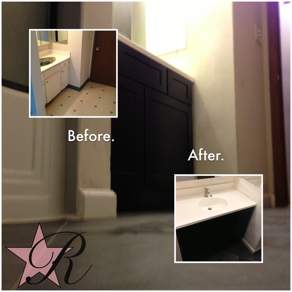 Rockstar Remodel installed a new vanity and tiled floor.