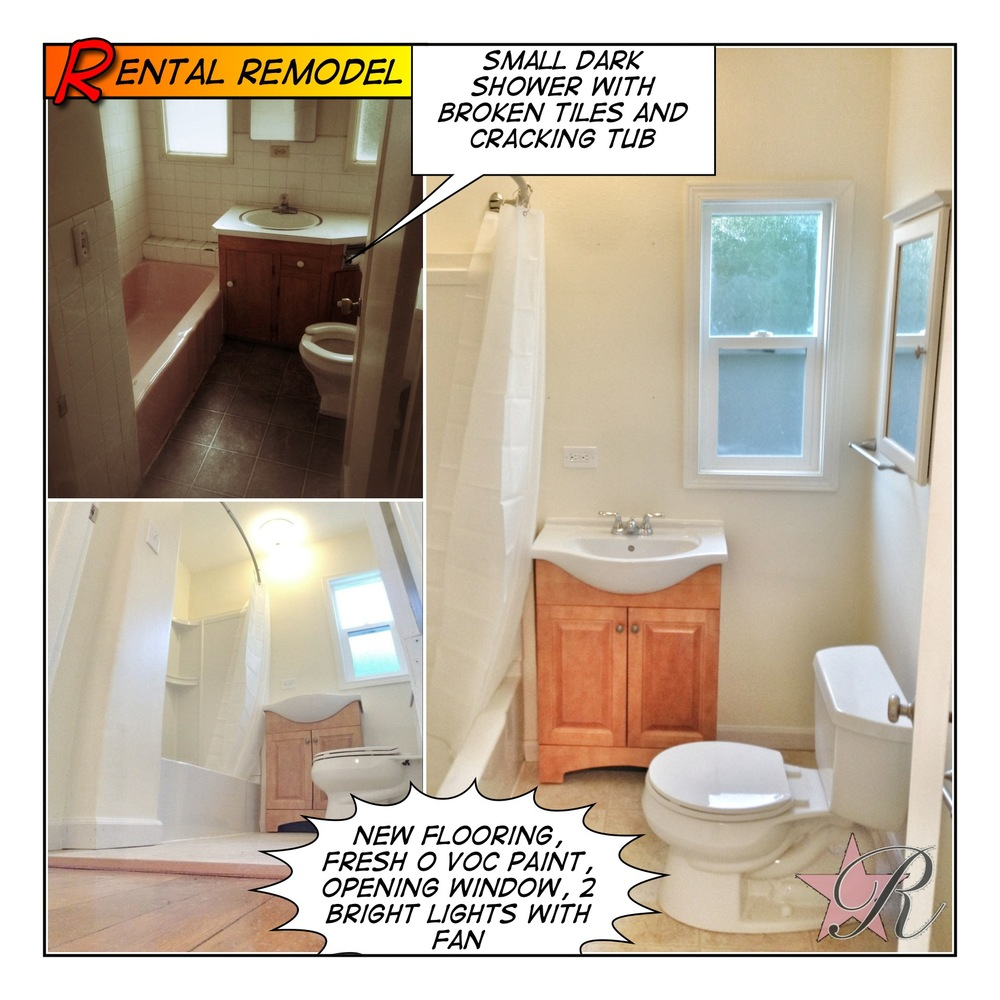 This is a less expensive bathroom improvement project for a house intending to be rented.