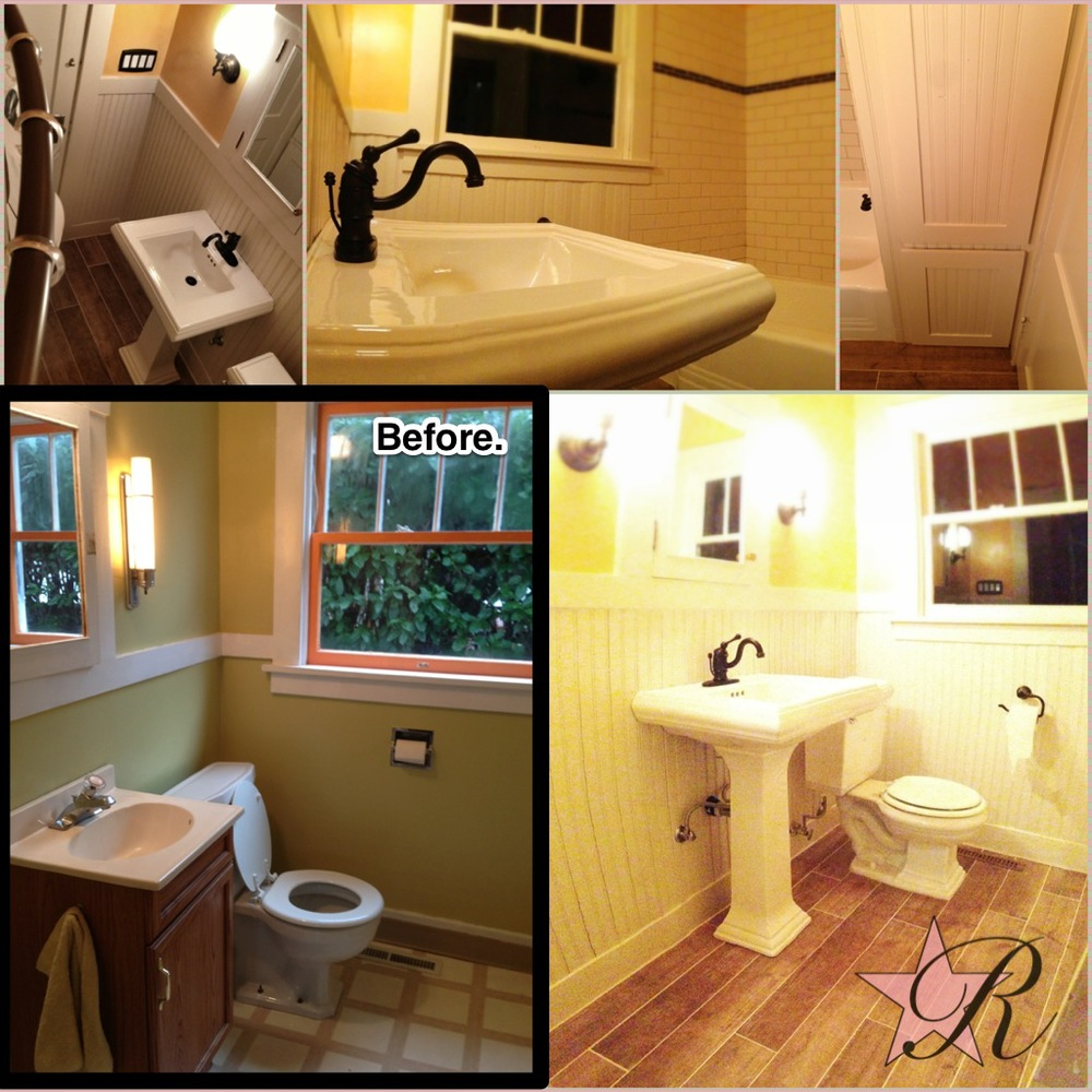 This was a difficult bathroom to photograph but Rockstar Remodel demo'd the old bathroom, installed a new tub with tile surround, a new tiled floor with a wood aesthetic, wainscoting, pedestal sink and lights.