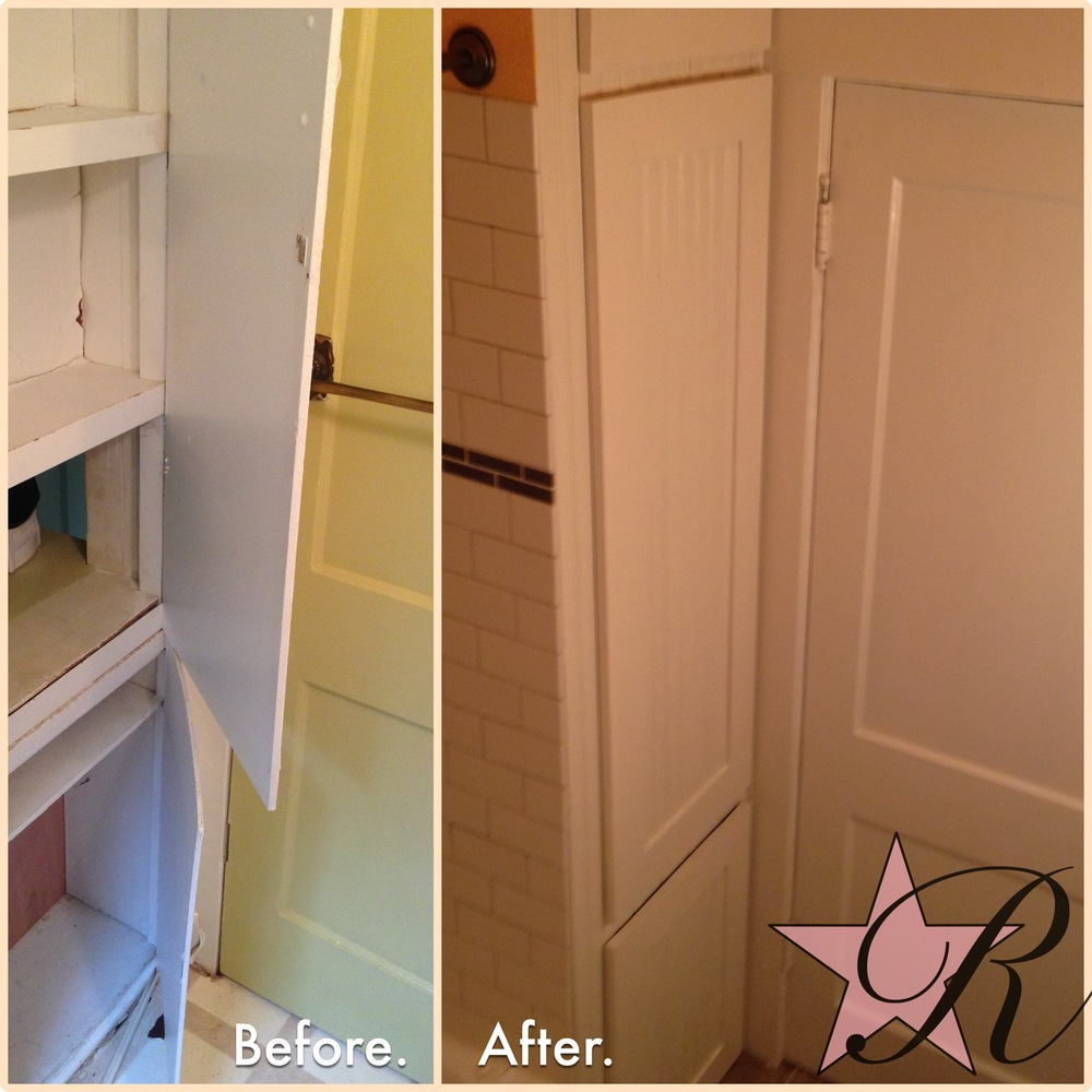 In this bathroom (also photoed above), Rockstar Remodel also refinished the cabinet face and built new doors to match the wainscoting.