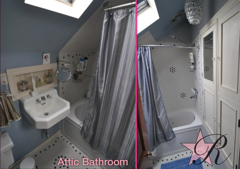 Rockstar Remodel installed a new tile surround and floor, space-saving sink, niche and cabinet in this attic bathroom.