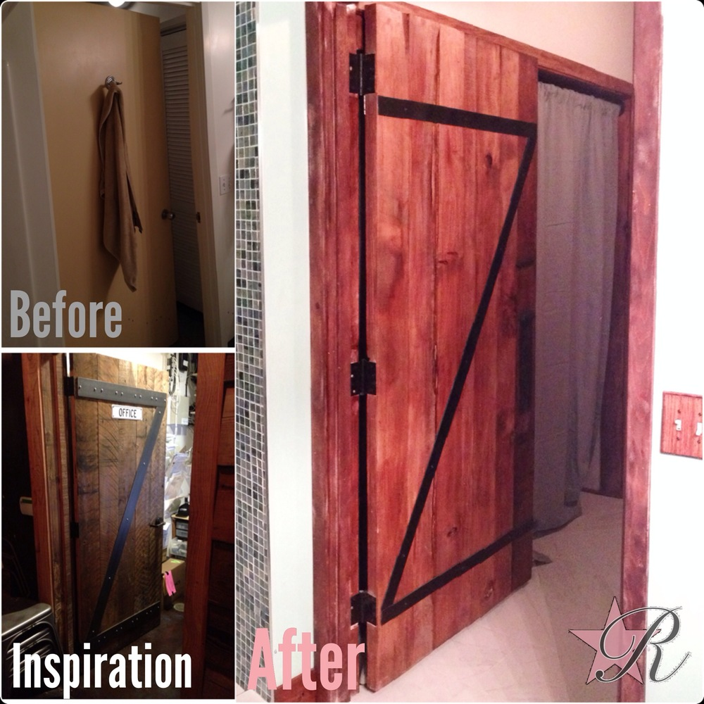 The client sent a photo of a rustic door that she liked and had also seen at a local bar. Using those examples, Rockstar Remodel built this door from scratch and refinished the door frames to match. Please check out the Bathrooms photo gallery of the matching vanity also built from scratch.