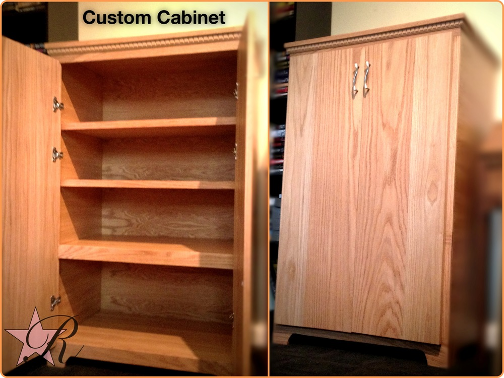 The client wanted a custom cabinet that would fit specific binders on the bottom shelf and adjustable shelves above for books and other items.