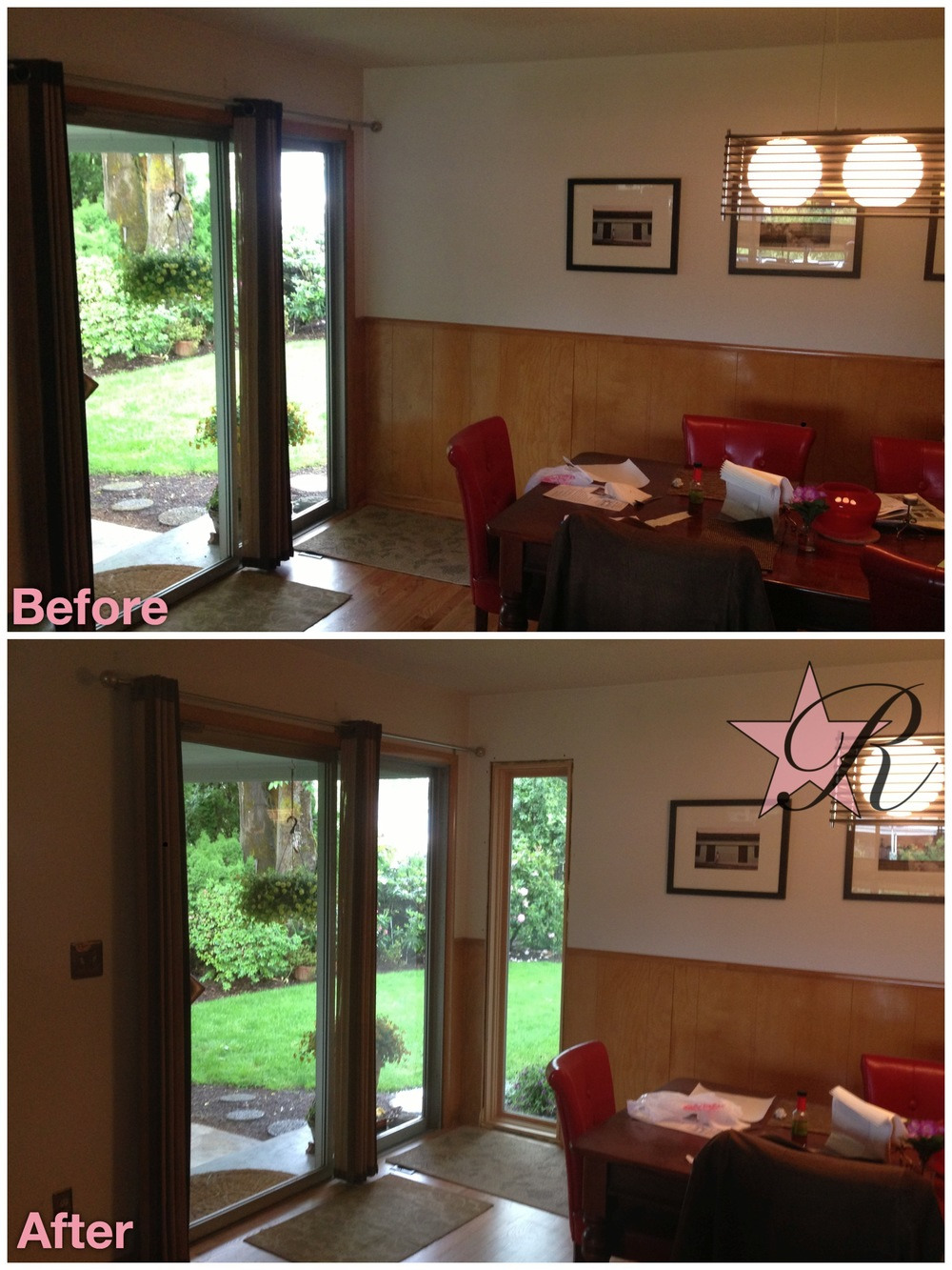 Installing a new window to the right of the sliding glass door made the dining room feel more open and brighter. Also, the clients could now see the flowers blooming in the backyard.