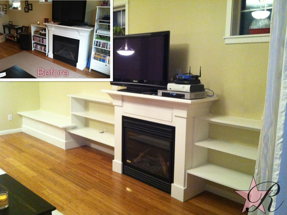 The clients conceived of a custom built-in entertainment center with shelves flanking the existing fireplace and at one end a bench that could be used for children to sit on and toys to be stored inside.