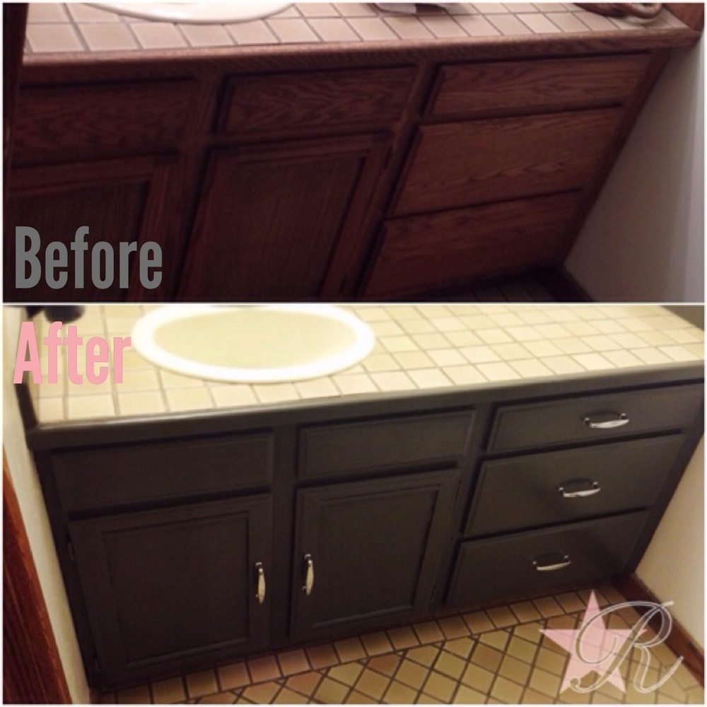 Rockstar Remodel used Sherwin-Williams trim cabinet paint to give this guest bathroom cabinet a more modern look.