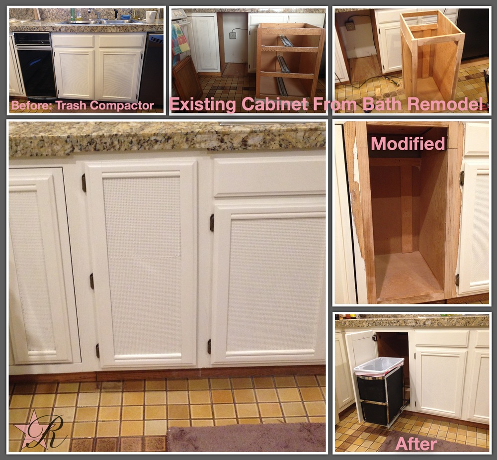 The trash compactor was unsightly and, by the time it was full, made the kitchen malodorous. Rockstar Remodel was remodeling the bathroom at the same time so using the removed vanity modified it to fit in the kitchen. This reuses existing materials so it's better for the environment, saves the client money and matches the existing cabinets better than new wood. Rockstar Remodel installed a SimpleHuman pull-out trash can.