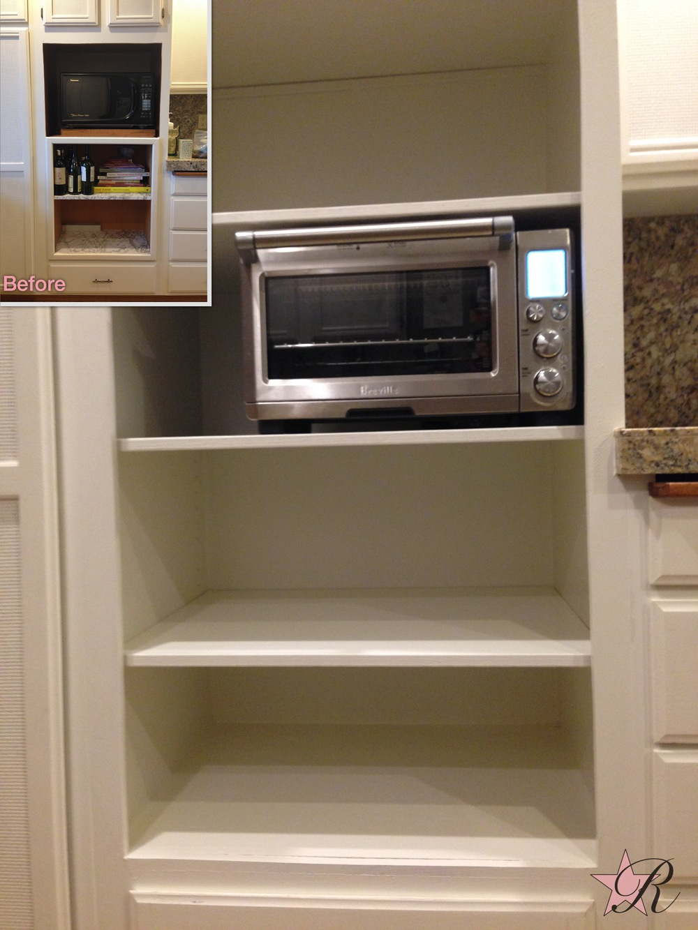 With the new microwave hood fan, there was no need of this microwave so Rockstar Remodel remodeled the shelves to better fit the client's needs and look more modern.