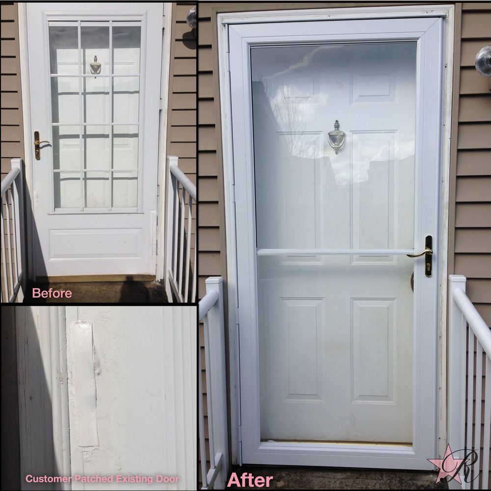 The existing storm door was falling apart in multiple locations and had been taped and painted by the homeowner but was becoming increasingly worse. Rockstar Remodel replaced the existing storm door with an Andersen storm door, which comes with a limited warranty of 20 years on glass and 10 years on other parts.