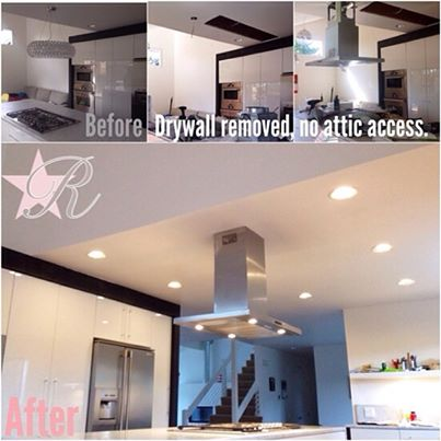 Rockstar Remodel swapped the kitchen light for a range hood fan above an island. There was no crawlspace access so the ceiling needed removal for the ducting to be installed and repair afterward.