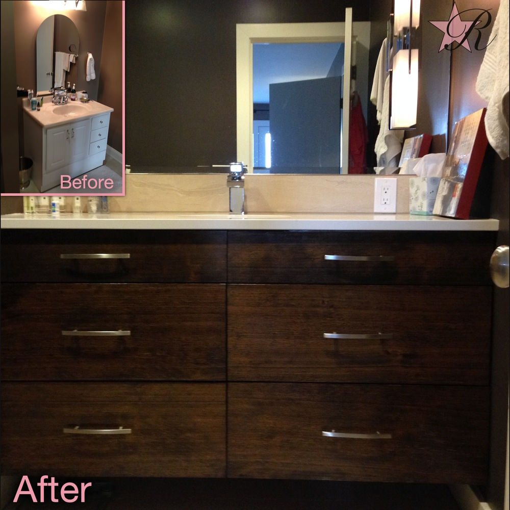 This is a custom vanity with countertop built to fit space and match a photo representation.