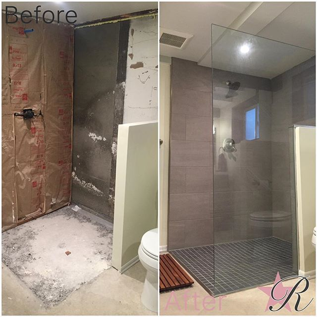 Basement bathroom curbless shower. #tile #schluter #waterproof