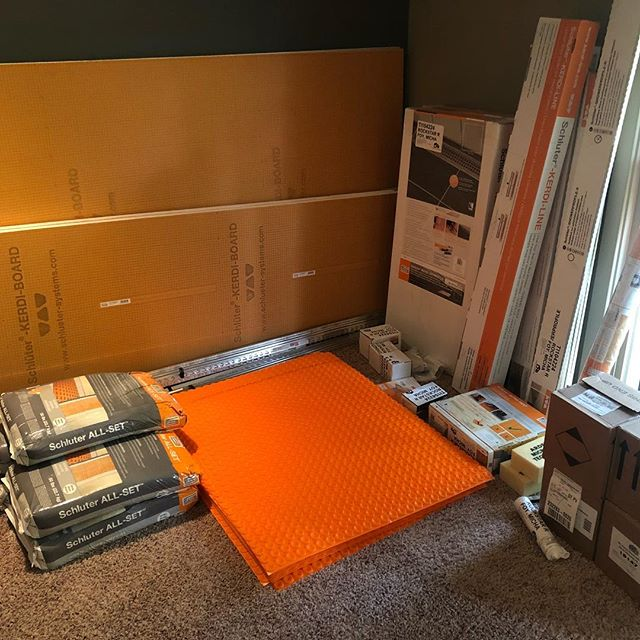 Tile Installers Christmas 🎄  Fantastic #bathroom #remodel: coming soon ⚠️ Thanks @schlutersystemsna.
