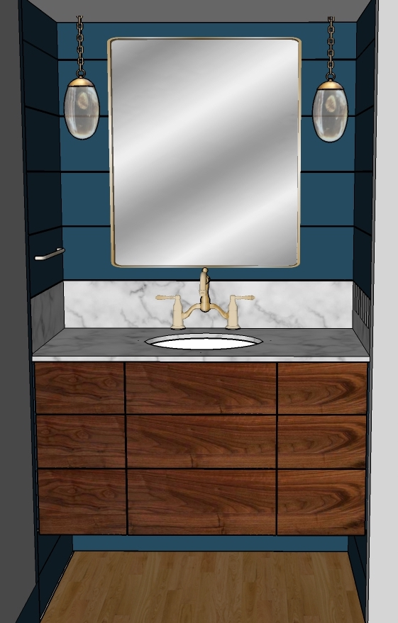 Powder Room concept for a client in North Chatham. Walnut grain through vanity. Carrara countertop, and antique brass accents.