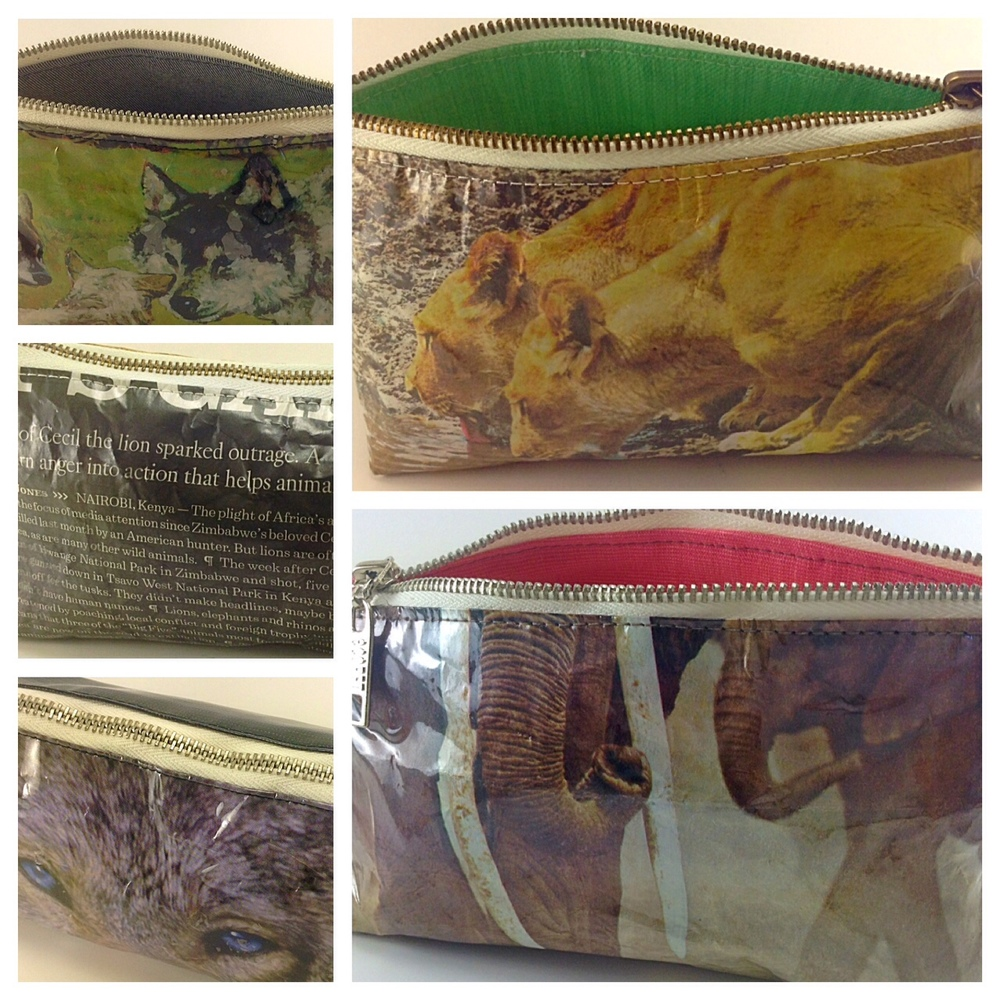 New multi functional pouches honoring the endangered wild animals that roam our earth, including Cecil the great lion. Made from re-purposed and recycled materials.A portion of every sale is given back to animal shelters and rescue organization.