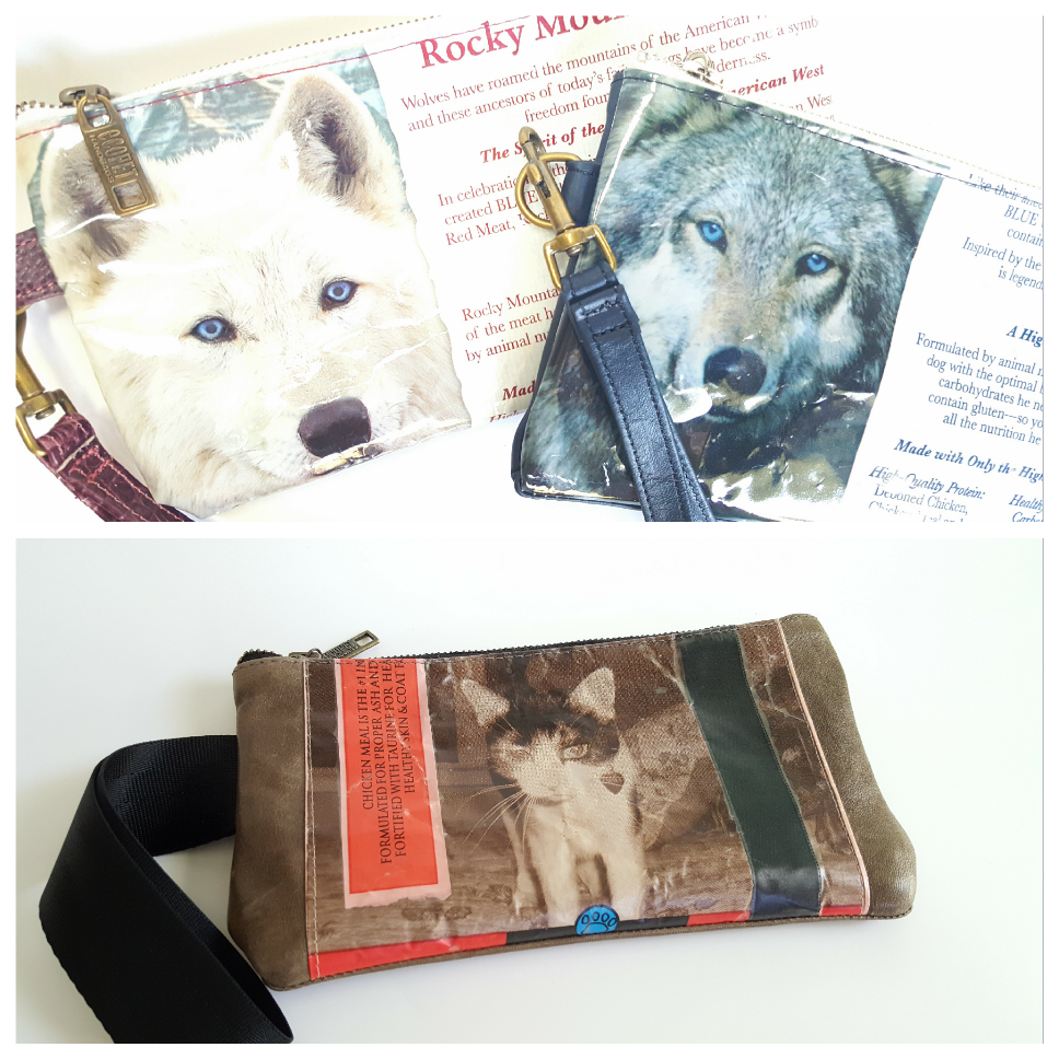 WOLF WRISTLETS AND CAT PURSE MADE FROM UP-CYCLED PET FOOD BAGS AND OTHER REPURPOSED MATERIALS.