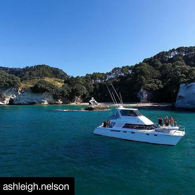 #repost of the beautiful Cathedral Cove on a crispy winters day.  #cathedralcove #coromandel #newzealand #boating #fishing #blueskies