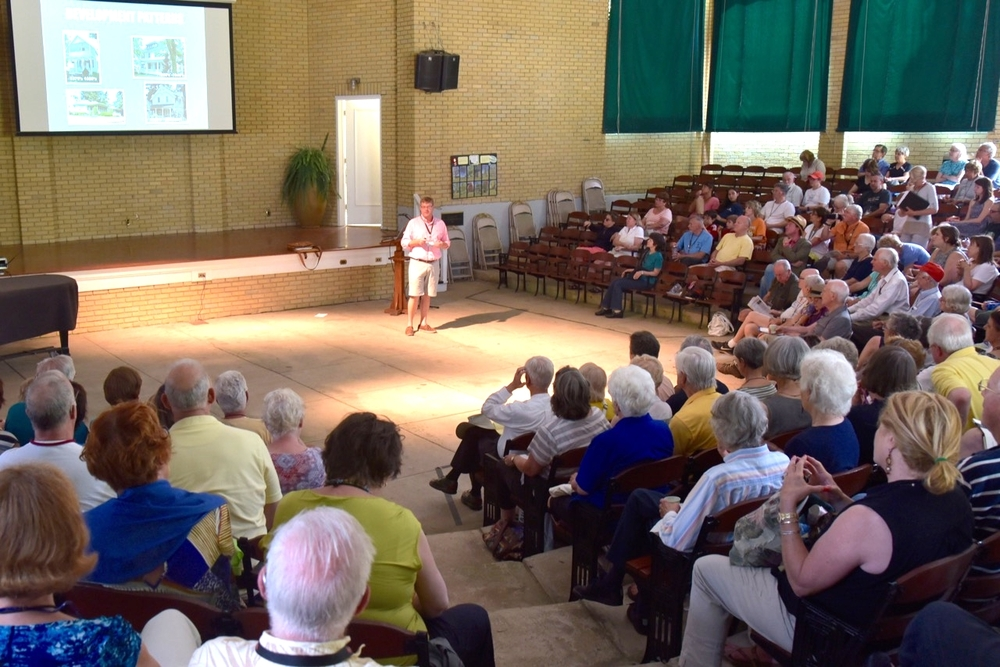 Architect Bob Jeffrey provides a review of all 12 houses on tour discussing trends, unique features, etc. Event took place prior to the house tour with almost 300 people at Smith Wilkes Hall July 8.