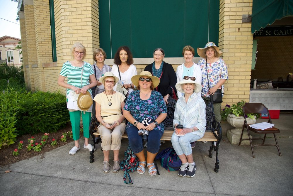 Welcome first time visitors from Western Reserve Herb Society - they got up at 4am to arrive in time for the Garden Lecture, tours, opera, and stayed thru dinner at 2 Ames!