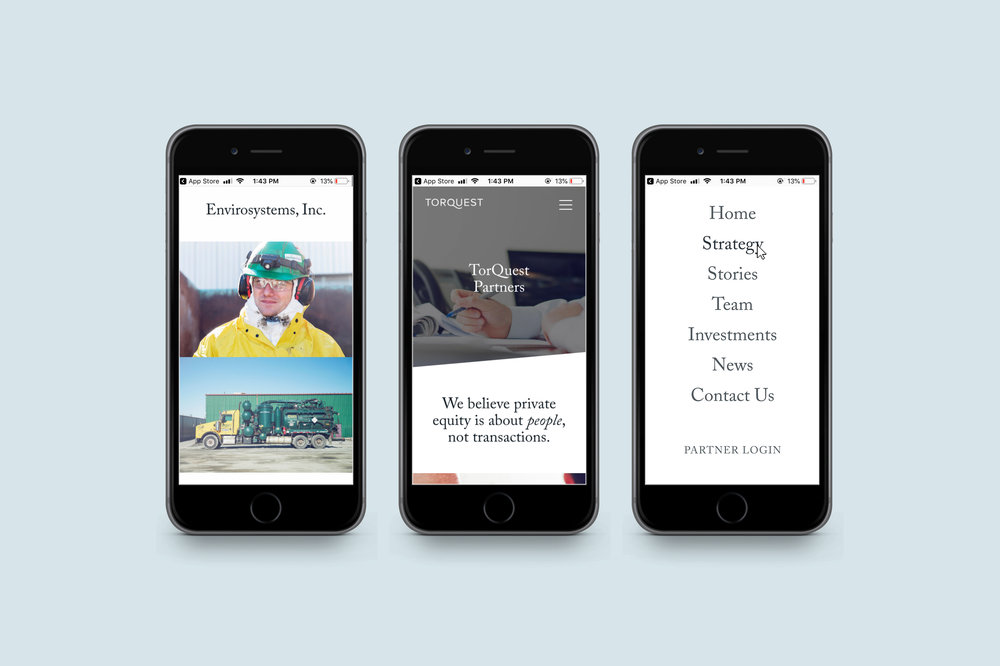 Mobile views of the responsive site.