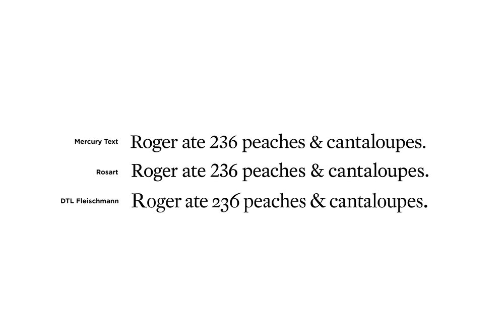 A comparison of two typefaces considered as replacements.