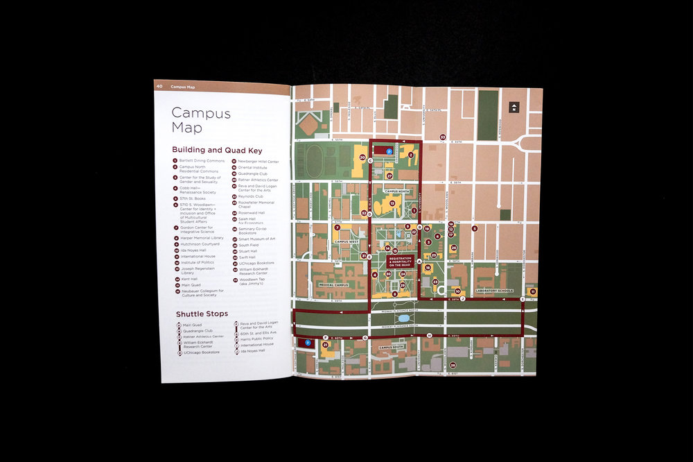 Back of the brochure with a fold-out campus map.