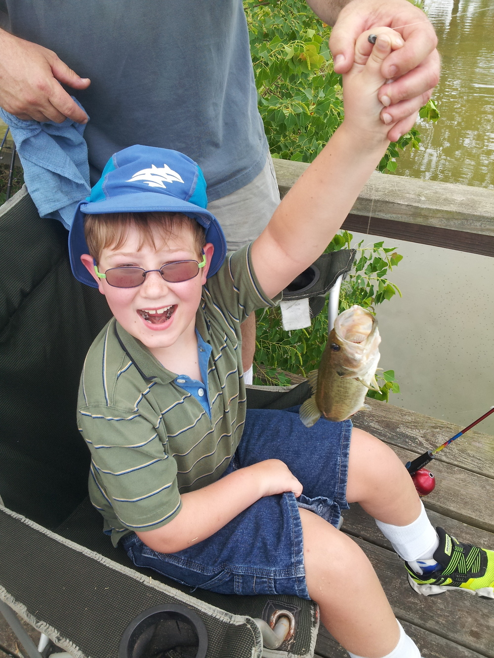 Check out Nicholas's fish he reeled in