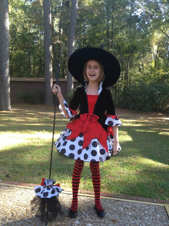 Lindsay as Witchy Sheena for Halloween; check out her cane--I mean broom!