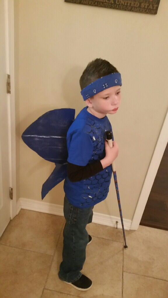 Jordan dressed up as the Blue Fish for Read Across America day