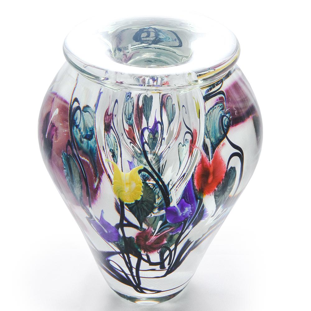 Lotton  Dancing Leaves Vase w Multicolor Bleading Hearts w Multicolor Bleading Hearts 1 - 11x9 shadow.jpg